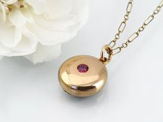 Petite Solid Rose Gold Locket / Small Victorian