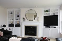 love shelves and fireplace