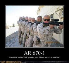 Army Regulation 670-1 is the manual for wear and appearance of army uniforms (which includes facial hair); the AR-15 are the modified M16s that have the awesome mustaches