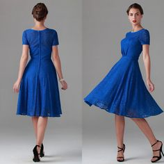 2015 Mother of the Bride Dress Modest Jewel Neckline A-line Knee Length Short Sleeves Royal Blue Lace Bridesmaid Wedding Dresses from garmentfactory, $105.53 | DHgate Mobile