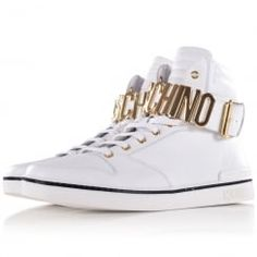 Moschino White & Gold Letter Hi-Top Trainers. Available now at www.brother2brother.co.uk