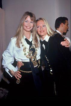 Les backstage de la Fashion Week en photos vintage - Claudia Schiffer Estelle Lefébure