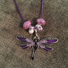 Dragonfly Necklace Dragonfly Jewelry Purple by HappyLilac on Etsy