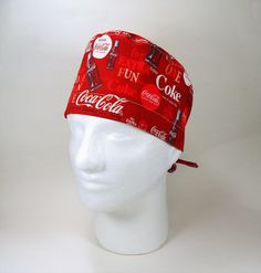 Men's/Unisex Coke on Red Novelty Tie Back Surgical Scrub Cap/Pixie Cap/Chemo Hat/Cooks Hat by FoodFunScrubHats on Etsy