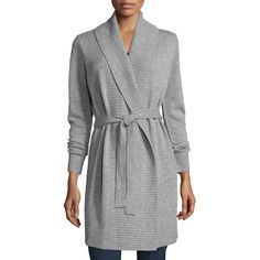 Michael Michael Kors Belted Wool-Blend Shawl Cardigan (475 BGN) ❤ liked on Polyvore featuring tops, cardigans, grey, shawl collar cardigan, grey open front cardigan, long sleeve cardigan, gray open front cardigan and oversized cardigan