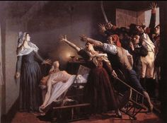 -Jean Joseph Weerts -El asesinato de Marat -1880 En esta obra vemos el cuerpo inerte de Marat, asesinado por la mujer que aparece inmediatamente detrás de el, sosteniendo un cuchillo. Por la puerta, irrumpe una horda de personas que la incriminan. En la obra, se puede respirar ese irrumpimiento en la habitación. Una escena de lo más ordinaria.