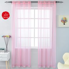 Each panel is Simple sheer yet add styling to your window. Designed with rod pockets on top for easy installation. Designed with rod pocket on top for easy installation. Pink Sheer Curtains, Sheer Curtain Panels, Velvet Curtains, Rod Pocket Curtains, Grommet Curtains, Curtains With Blinds, Cafe Curtains, Door Curtains, Girls Bedroom Curtains