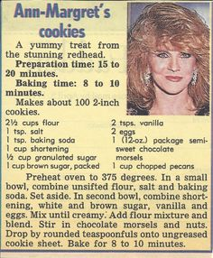 Ann-Margret recipe for Chocolate Chip Cookies Candy Cookies, Brownie Cookies, Cookie Desserts, Yummy Cookies, Chocolate Chip Cookies, Cookie Recipes, Dessert Recipes, Pecan Cookies, Chocolate Biscuits