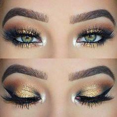 comment maquiller les yeux verts fard a paupières en or idee maquillage original