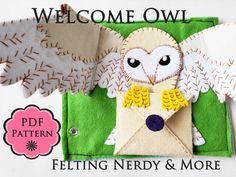 Harry Potter Craft, Quiet Book Page PATTERN, Mail Owl with Welcome Letter, toddler toy, felt book pa Toddler Gifts, Toddler Toys, Anniversaire Harry Potter, Quiet Book Patterns, Welcome Letters, Owl, Busy Book, Baby Kind, Felt Diy