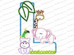 Letter L Jungle-Safari-Zoo Applique Embroidery Design