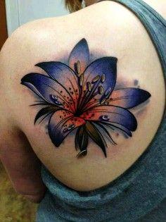 dark blue lily tattoo