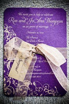 purple wedding invitation with cream ribbon & details