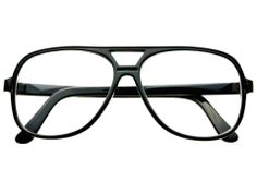 TRUE VINTAGE STYLE CLEAR LENS AVIATOR GLASSES FRAMES BLACK A1221