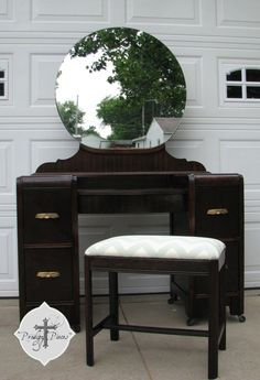 SOLD - Custom 1939 Art Deco Waterfall Dressing Table/Vanity With Bench - Espresso finish with Chevron Upholstery
