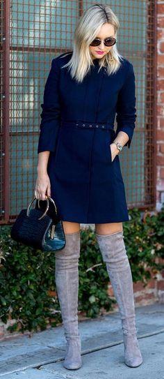 #winter #fashion /  Navy Coat + Grey OTK Boots