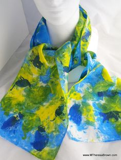 Beautiful vibrant blue and yellow CAT silk scarf. by M Theresa Brown of onroadartists