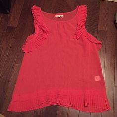100% coral silk blouse with ruffles madewell Eliot bought at madewell Madewell Tops Blouses