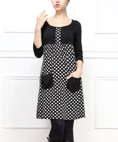 Look what I found on #zulily! Black & White Polka Dot Scoop Neck Dress by Reborn Collection #zulilyfinds