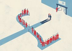 When queuing is up for sale. Illustration by Francesco Bongiorni for the Guardian