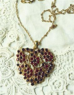 Twig and Berry Crystal Heart Pendant