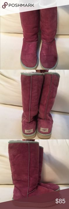 ✨RARE✨ Lilac and Blue Tall UGG Boots RARE purple classic tall UGG boots with light blue trim and cream sole. Made of luxurious sheepskin and soft wool insole. Have a small stain on the side of the left boot (see photo) but otherwise in excellent condition. UGG Shoes Winter & Rain Boots
