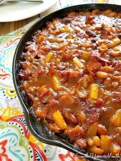 Pineapple & Bacon Baked Beans (South Your Mouth) Baked Beans With Pineapple Recipe, Hawaiian Baked Beans, Baked Beans With Bacon, Boston Baked Beans, Pineapple Recipes, Pineapple Bacon Sausage Recipe, Hawiian Recipes, Smoked Sausage Recipes, Baked Bean Recipes