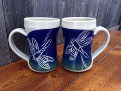 Blue Dragonfly Mugs / Set of 2, Made by Jean's Clay Studio in Milwaukee, WI