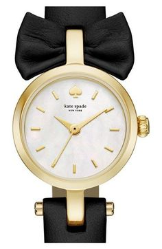 kate spade new york 'tiny metro - bow' leather strap watch, 20mm