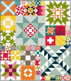 This pattern is for a sampler quilt by Moda shown at spring quilt market. Available now in the shop!