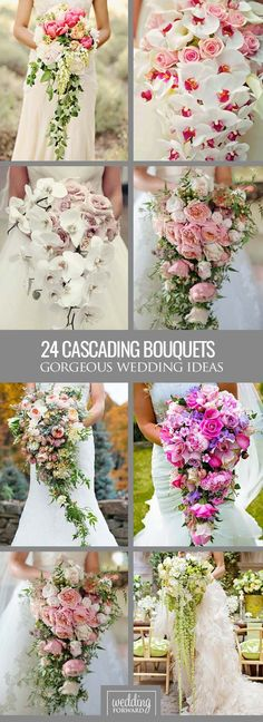 24 Gorgeous Cascading Wedding Bouquets ❤ Modern cascading (or pageant) bouquets are different from traditional round bouquets and look stunning with roses, orchids, peonies, lilies and dahlias. See more: http://www.weddingforward.com/cascading-wedding-bouquets/ #weddings #bouquet