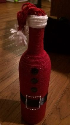 Santa wine bottle, yarn wine bottle