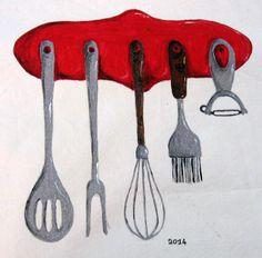 Disegno su un telo per coprire il fornello della cucina - pittura su stoffa