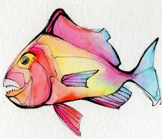 One of a set of 30 crazy colorful fish destined to be postcards - Chris Grant