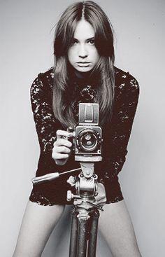 Scottish actress Karen Gillan With Hasselblad V system SLR Medium format camera.