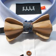 Blue Wooden Bow Tie
