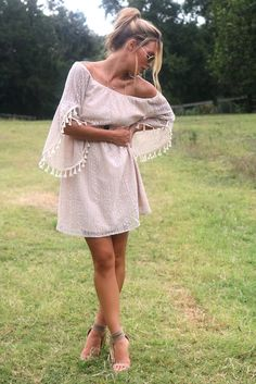 Oh So Boho Tan Off The Shoulder Crochet Dress With Cream Tassels
