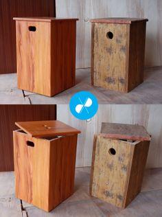 Banco-baú feito com madeira de demolição em acabamento fino e rústico.  Visite nosso site: http://vrmarcenaria.com.br/