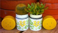 Tiny Vintage Salt and Pepper Shakers!  Cactus/Succulent