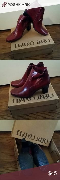 NWT/box Franco Sarto Cherry Ankle Boots/Booties Never worn, brand new with tags, in original box Franco Sarto Figaro Cherry Crush ankle boots/booties. Approximately 2.75 inch heels. Franco Sarto Shoes Ankle Boots & Booties