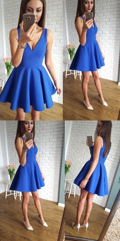 royal blue homecoming dresses, v neck homecoming dresses, short homecoming dresses, homecoming dress with pleats