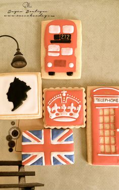 Love London Set decorated Sugar Cookies
