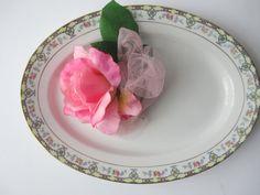 Vintage Noritake Blue Pink Floral Serving Platter by thechinagirl