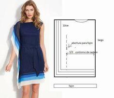 Este vestido é fácil de fazer e tem como resultado final uma imagem fantástico. Escolha as cores que mais gosta e ponha mãos ao trabalho. Corte dois rectân