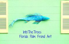 Fish+Art+Decor+Reclaimed+Painted+Turquoise+Florida+by+IntoTheTrees,+$225.00