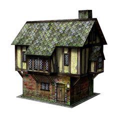 Tudor House 30mm Paper Model - Dave Graffam Models | Wargame Vault ❤ liked on Polyvore