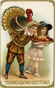 Free vintage printable Thanksgiving postcard