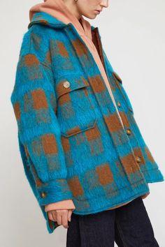 Wilson Jacket in Turquoise Plaid Mohair Uni Fashion, Winter Fashion, Fashion Outfits, Womens Fashion, Plaid Jacket, Shirt Jacket, Turquoise Clothes, Winter Wear, Work Wear