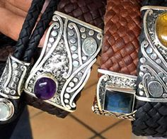 Silver, leather, & gemstone bracelets, handcrafted in Mexico