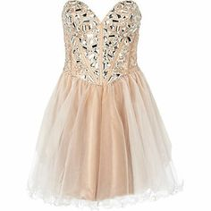 Light beige forever unique embellished dress £230.00